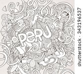 peru country hand lettering and ... | Shutterstock .eps vector #343196537