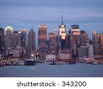 This is a view of the New York City skyline and the Hudson River waterfront. - stock photo