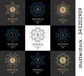 set luxury logos template... | Shutterstock .eps vector #343202909