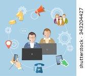 call center technical support... | Shutterstock .eps vector #343204427