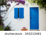 Greece. Greek Houses With Blue...