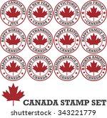 canadian stamp set | Shutterstock .eps vector #343221779
