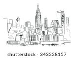 pencil drawing of a landscape... | Shutterstock .eps vector #343228157