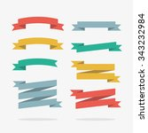 colored ribbons banners set in... | Shutterstock .eps vector #343232984