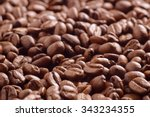 heap of roasted coffee beans... | Shutterstock . vector #343234355