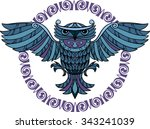 flying owl and a decorative... | Shutterstock .eps vector #343241039