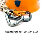 two alpinism carabiners and... | Shutterstock . vector #34324162