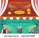 circus horizontal banner set... | Shutterstock .eps vector #343242989