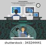 programmer horizontal banner... | Shutterstock .eps vector #343244441