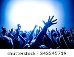 silhouettes of concert crowd in ... | Shutterstock . vector #343245719