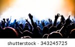 silhouettes of concert crowd in ... | Shutterstock . vector #343245725