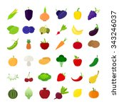 fruit and vegetables icons.... | Shutterstock .eps vector #343246037