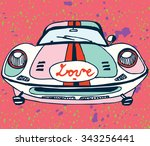 retro car with symbols of love | Shutterstock .eps vector #343256441
