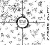 set of seamless patterns. hand... | Shutterstock .eps vector #343259444