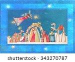 christmas nativity scene. jesus ... | Shutterstock . vector #343270787