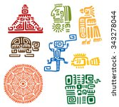ancient mayan and aztec totems... | Shutterstock .eps vector #343278044