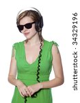 beautiful girl in a green dress ...   Shutterstock . vector #34329196