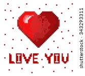 red pixel heart in pixel art... | Shutterstock .eps vector #343293311