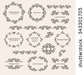 floral design elements set ... | Shutterstock .eps vector #343301705