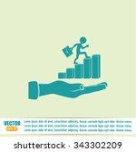 man climbs up the career ladder | Shutterstock .eps vector #343302209