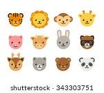 set of cute cartoon animal... | Shutterstock . vector #343303751