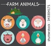farm animals and birds round... | Shutterstock .eps vector #343304171