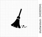 sweeping broom icon | Shutterstock .eps vector #343305341