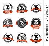 vector set of retro anniversary ... | Shutterstock .eps vector #343306757