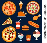 flat fast food menu icons of... | Shutterstock .eps vector #343308005