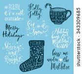 set of handwritten christmas... | Shutterstock .eps vector #343309685