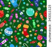 seamless pattern of candies ... | Shutterstock .eps vector #343311125