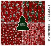 set of four christmas and new... | Shutterstock .eps vector #343316675