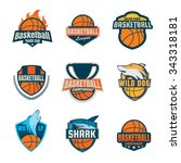 basketball logotype collection... | Shutterstock .eps vector #343318181