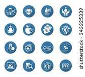 medical and health care icons... | Shutterstock .eps vector #343325339