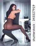 sensual beautiful lady posing... | Shutterstock . vector #343327919