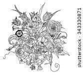 hand drawing zentangle elements.... | Shutterstock .eps vector #343330871
