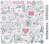 valentine's day theme doodle... | Shutterstock .eps vector #343332311