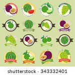 set of various fresh fruit and... | Shutterstock .eps vector #343332401