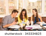 young team working with a... | Shutterstock . vector #343334825