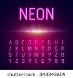 neon alphabet letters font... | Shutterstock .eps vector #343343609
