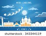 santa claus sleigh reindeer fly ... | Shutterstock .eps vector #343344119