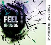 abstract retro vintage grunge... | Shutterstock .eps vector #343345511