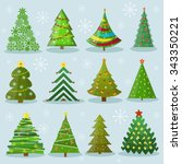 christmas trees vector image... | Shutterstock .eps vector #343350221