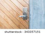 Closeup Brown Wooden Door With...