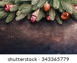 vintage christmas holidays... | Shutterstock . vector #343365779