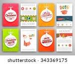 christmas vector vintage cards... | Shutterstock .eps vector #343369175