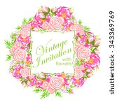 invitation with floral... | Shutterstock .eps vector #343369769