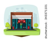 car repair help garage  auto... | Shutterstock .eps vector #343371101