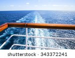 trail on water surface behind... | Shutterstock . vector #343372241