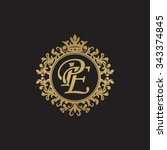 pe initial luxury ornament... | Shutterstock .eps vector #343374845